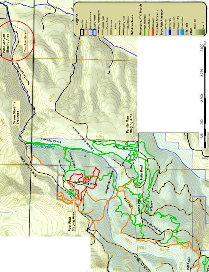 Post Canyon Mountain Biking Map