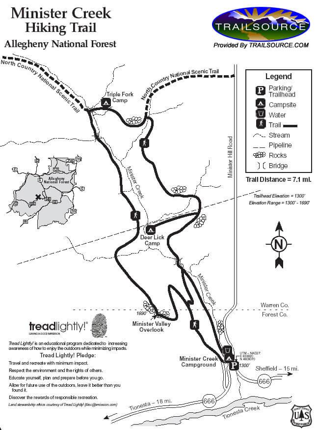 Minister Creek Valley West Mountain Biking Map