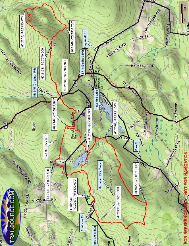 French Creek State Park Mountain Biking Map
