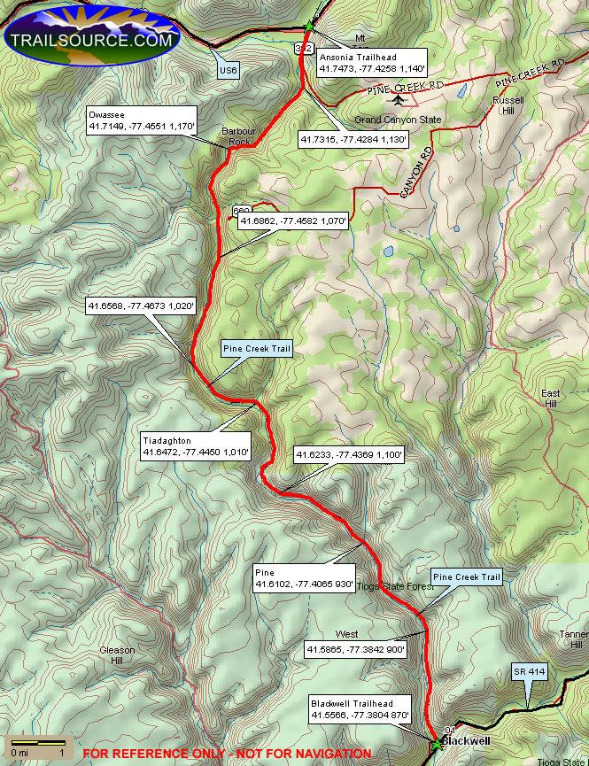 Pine Creek Trail Mountain Biking Map
