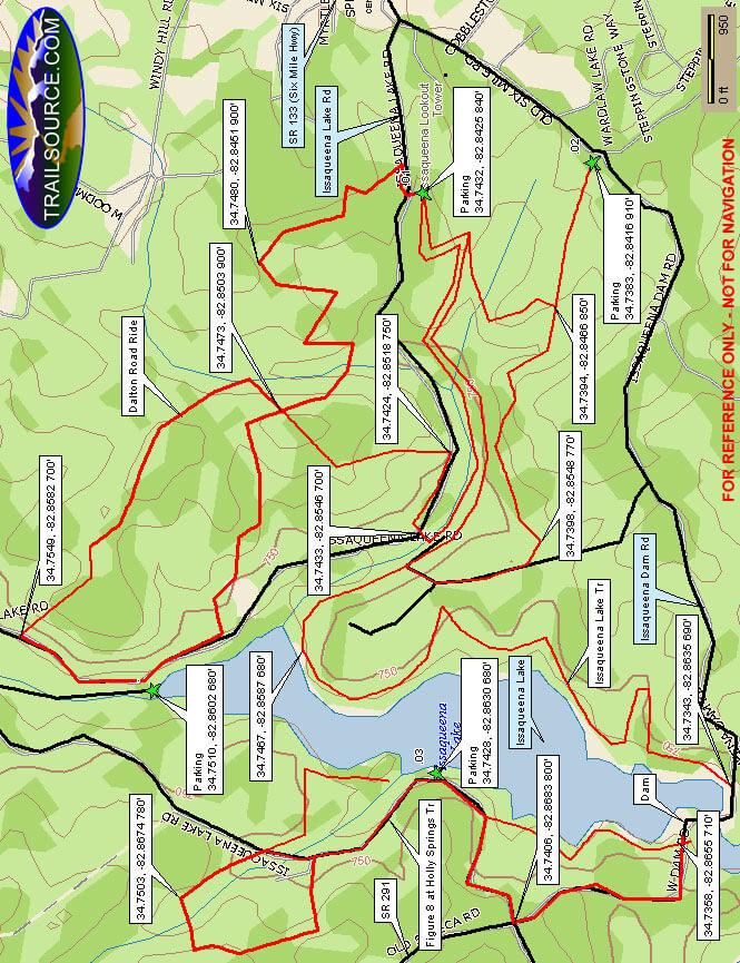 Issaqueena Lake Trail Mountain Biking Map