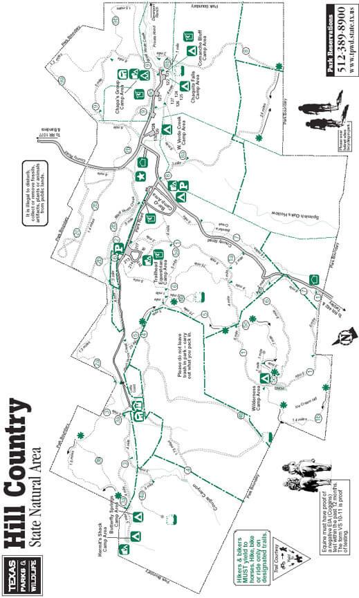Hill Country Mountain Biking Map