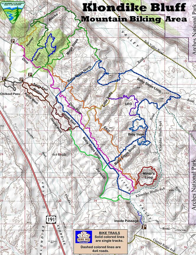 Klondike Bluffs Trail Mountain Biking Map