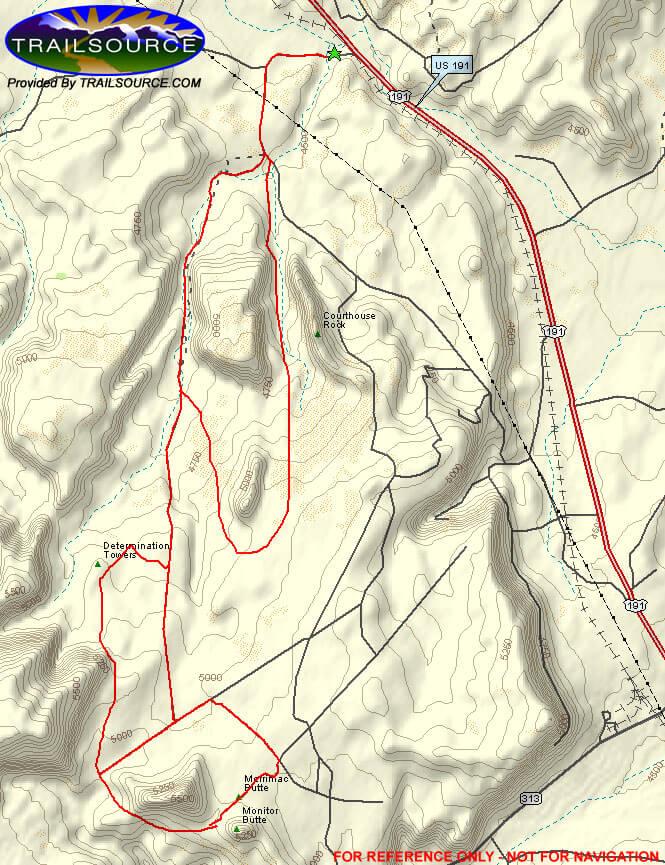 Monitor and Merrimac Trail Mountain Biking Map