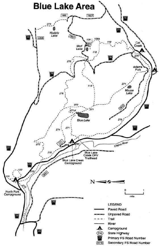 Blue Lake Ridge / Valley Trail Loop Mountain Biking Map