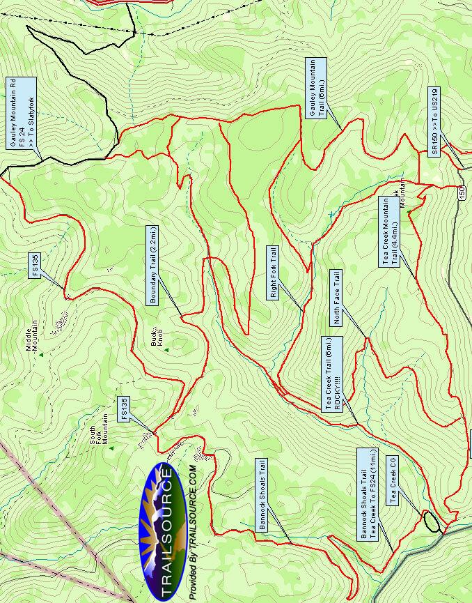 Slatyfork / Gauley / Tea Creek Mountain Biking Map