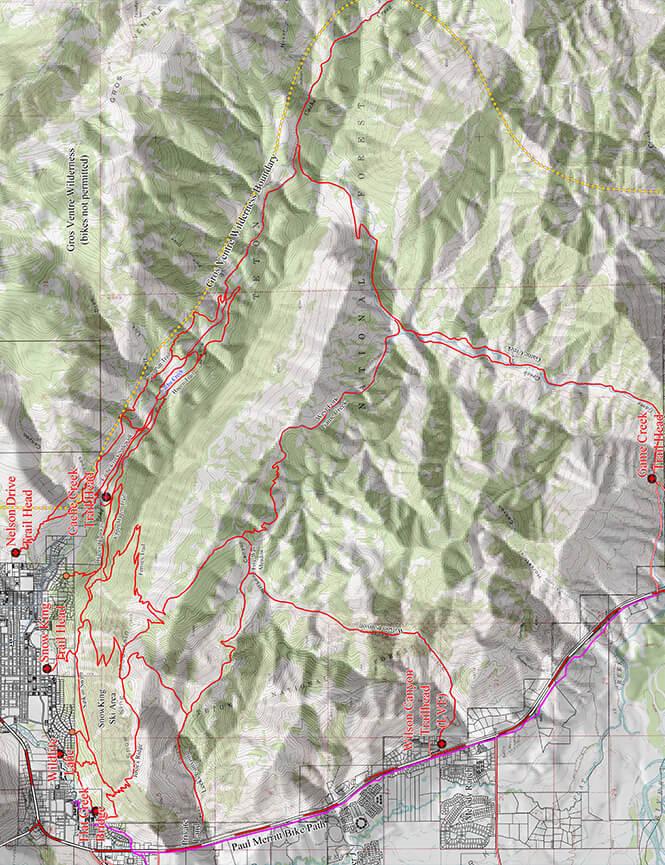 Cache Creek Trail System Mountain Biking Map