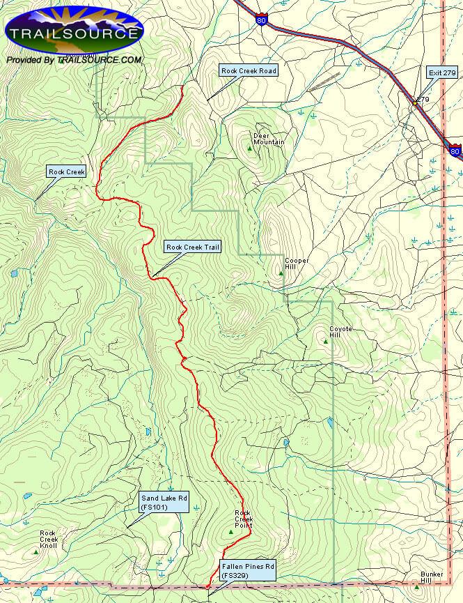 Rock Creek Trail Mountain Biking Map
