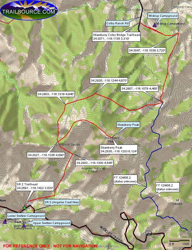Strawberry Peak Loop Trail Mountain Biking Map