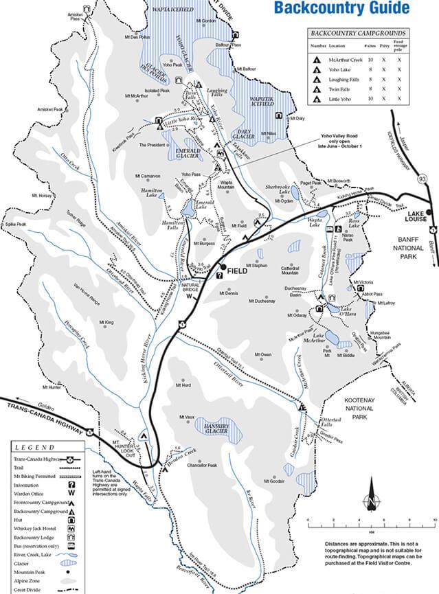 Yoho National Park Hiking Map