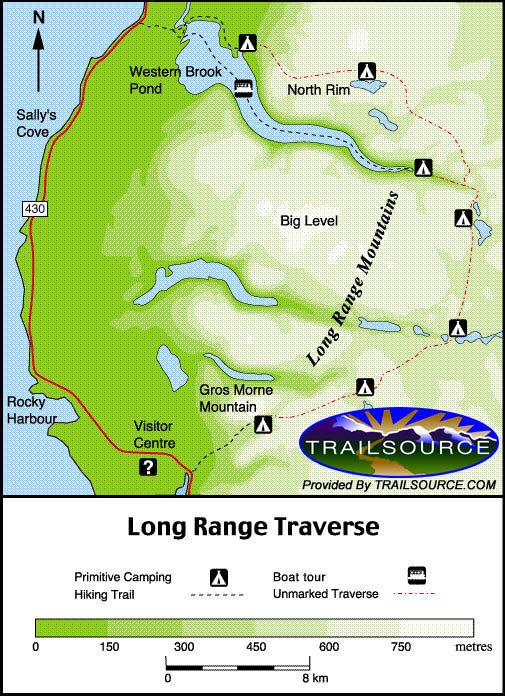 North Rim Traverse Hiking Map