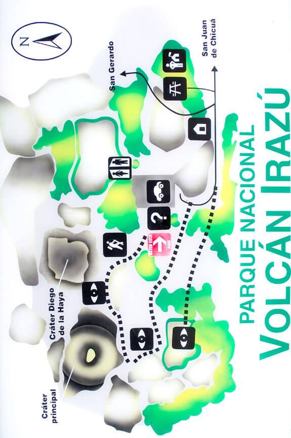 Irazu Volcano National Park Hiking Map