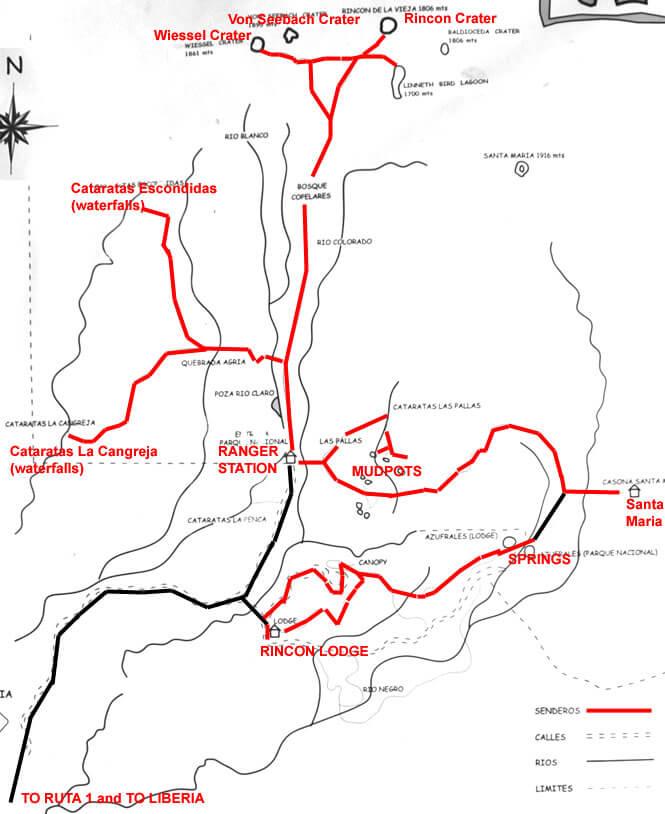 Rincon de la Vieja National Park Hiking Map