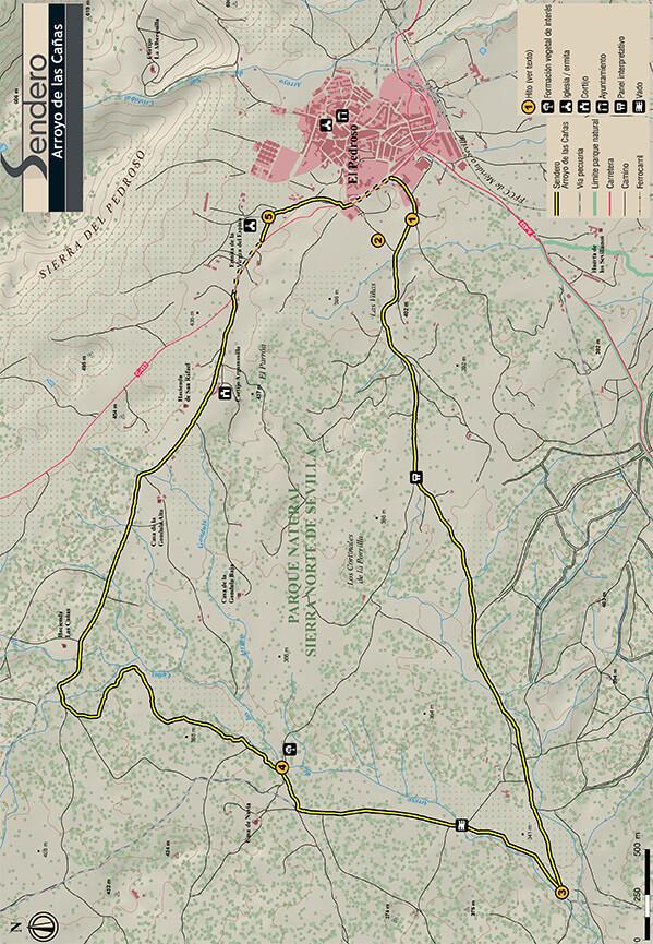 Sendoro del Arroyo del las Canas Hiking Map