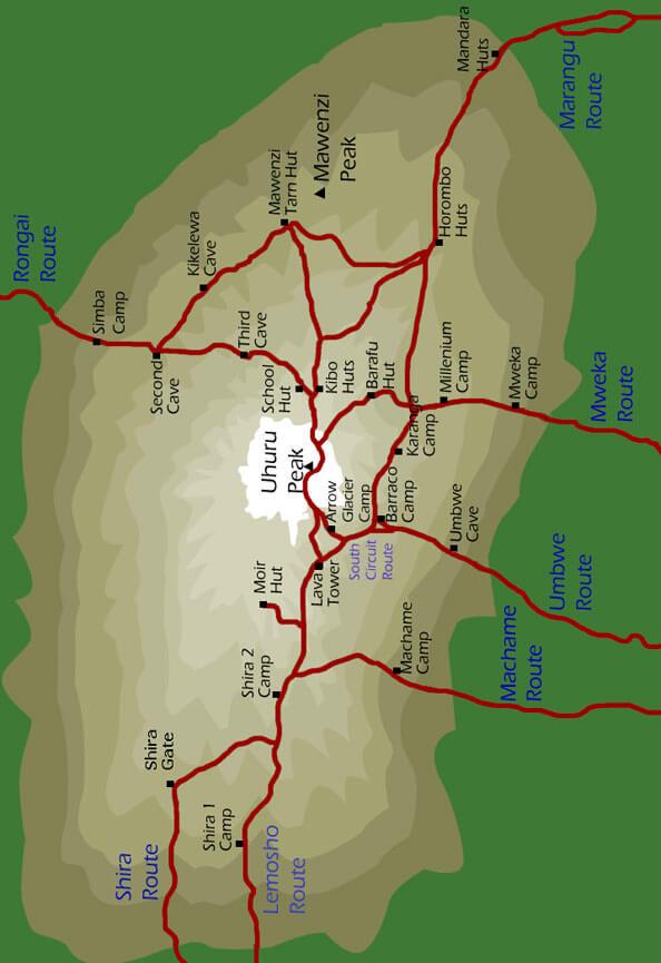 Mount Kilimanjaro Hiking Map
