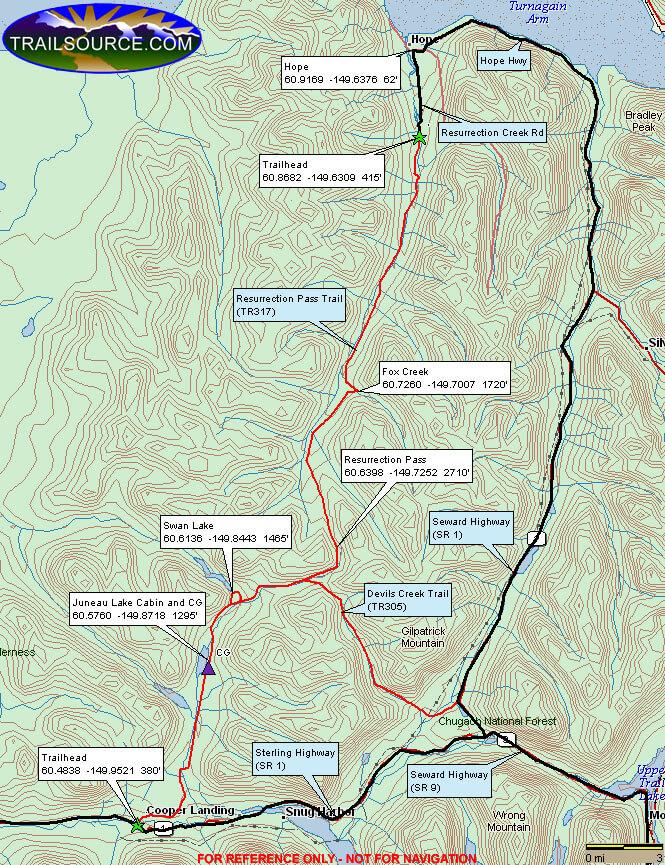 Resurrection Pass Trail Hiking Map