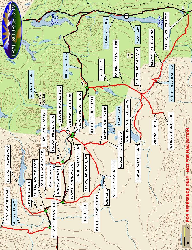 Tangle Lakes District Hiking Map