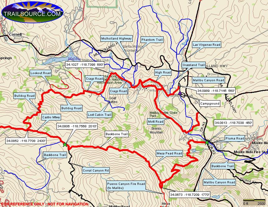 Malibu Creek State Park Hiking Map