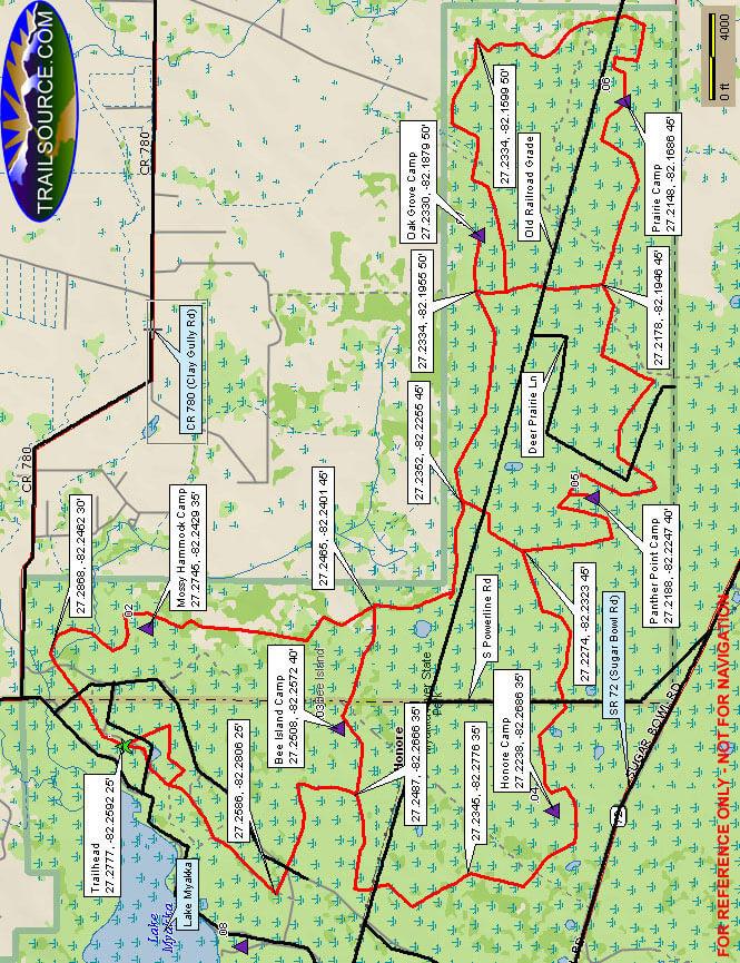 Myakka Trail Hiking Map
