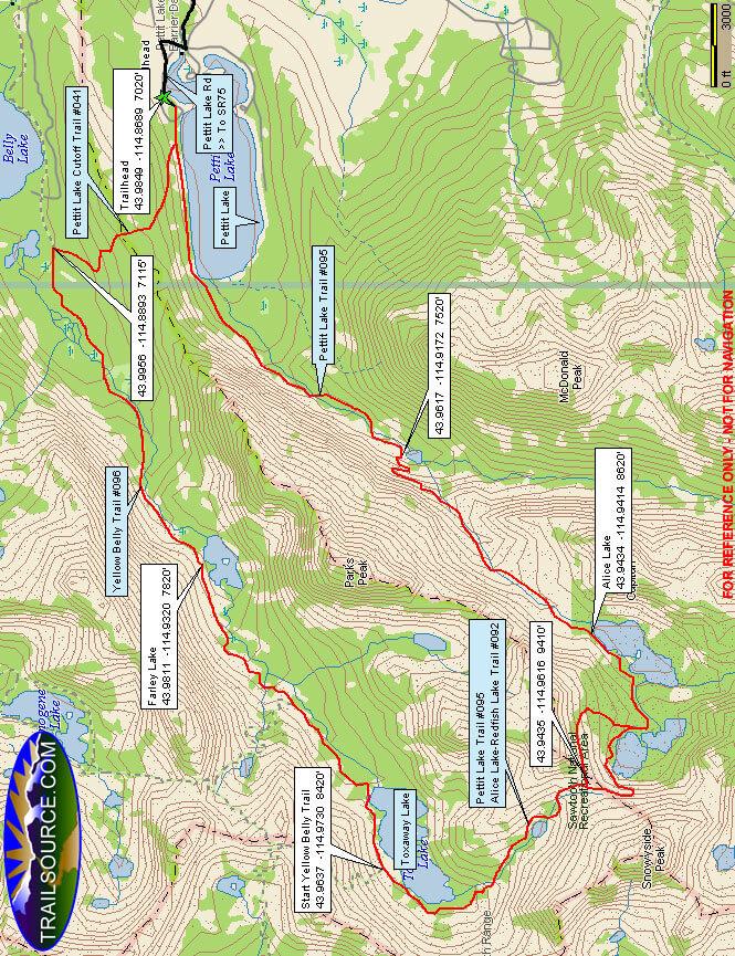 Toxaway Lake Loop Hiking Map