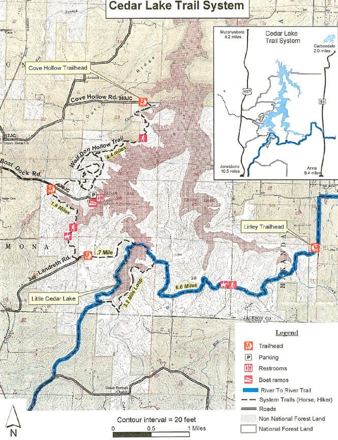 Cedar Lake Trails Hiking Map