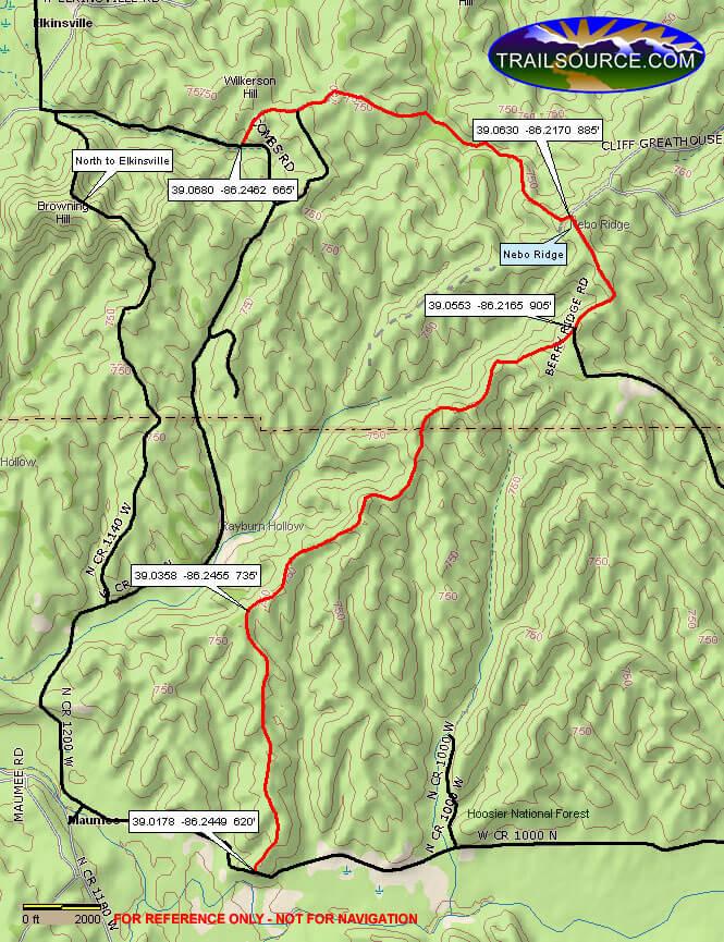 Nebo Ridge Loop Hiking Map