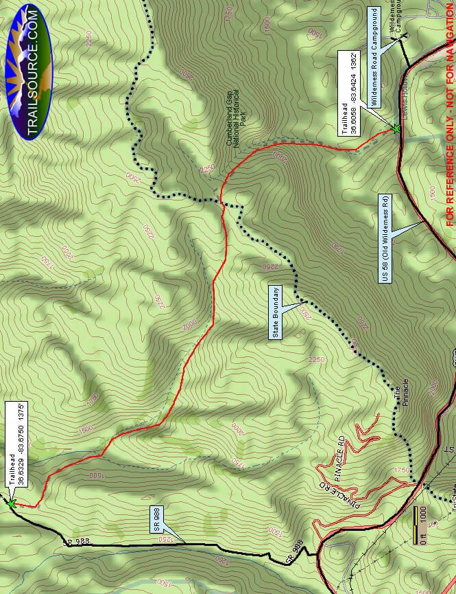 Cumberland Gap National Park Hiking Map