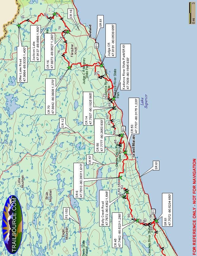 Superior Hiking Trail - North Hiking Map