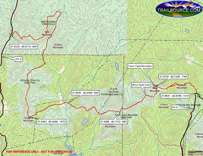 Ozark Trail - Taum Sauk Section Hiking Map
