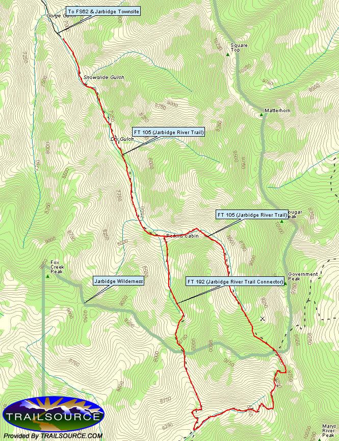 Jarbidge River Trail Hiking Map