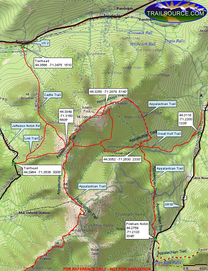 Northern Presidential Range Hiking Map