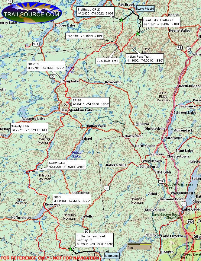 Northville-Lake Placid Trail Hiking Map