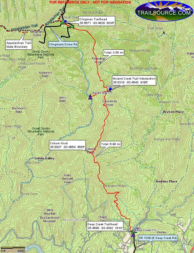 Noland Divide Trail Hiking Map