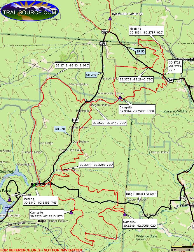 Zaleski Backpack Trail Hiking Map