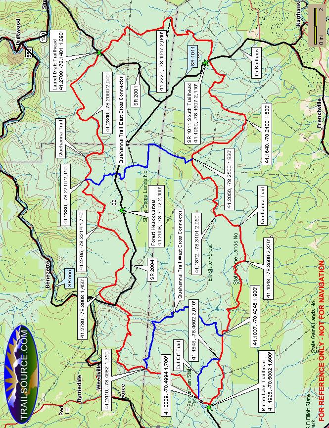Quehanna Trail Hiking Map