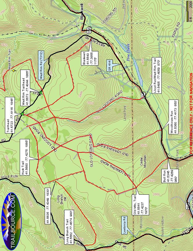 Cedar Mountain Hiking Map