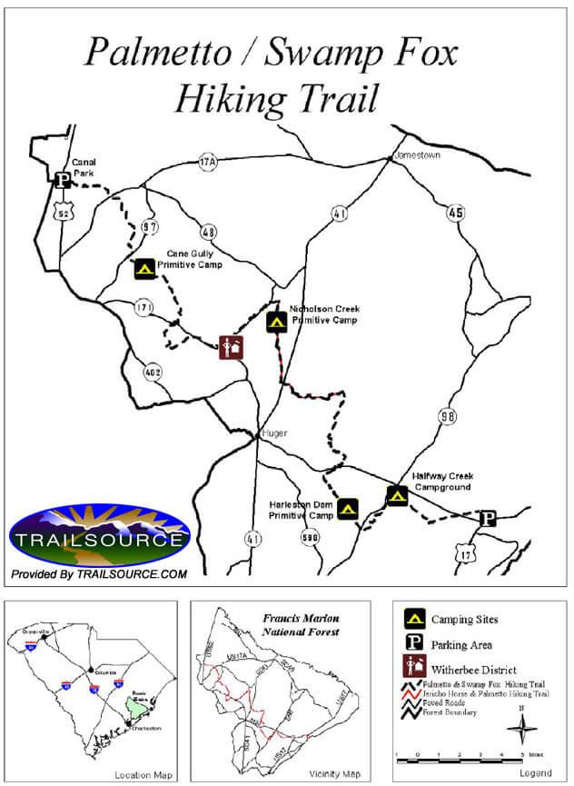 Swamp Fox National Recreation Trail Hiking Map