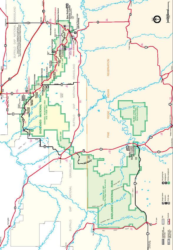Badlands National Park Hiking Map