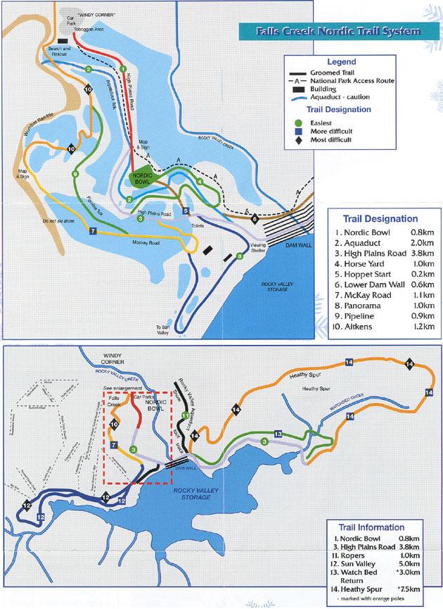 Falls Creek Cross Country Ski Area Cross Country Skiing Map