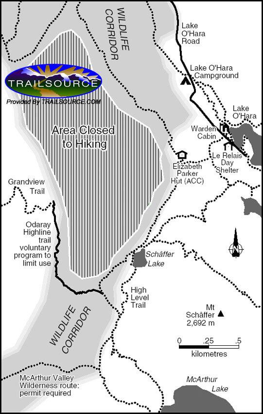 Lake O'Hara Trail Cross Country Skiing Map