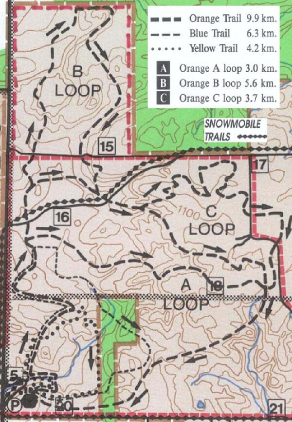 Ganaraska Forest Cross Country Skiing Map