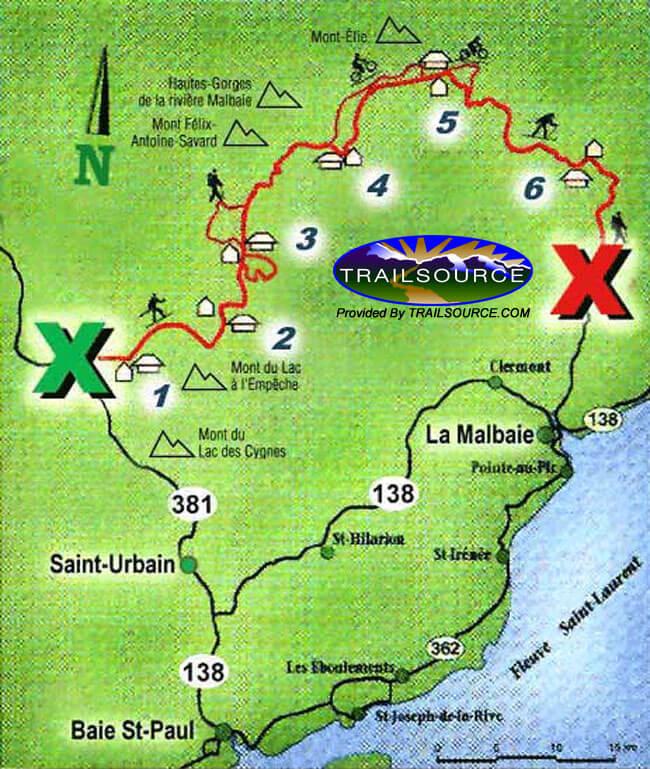 La Traverse de Charlevoix Cross Country Skiing Map