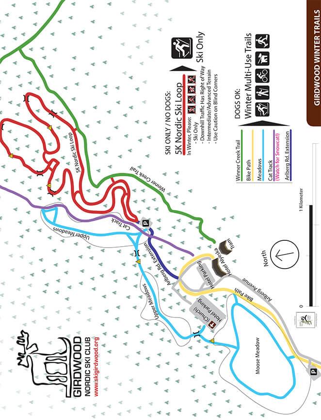 Alyeska Resort Cross Country Skiing Map