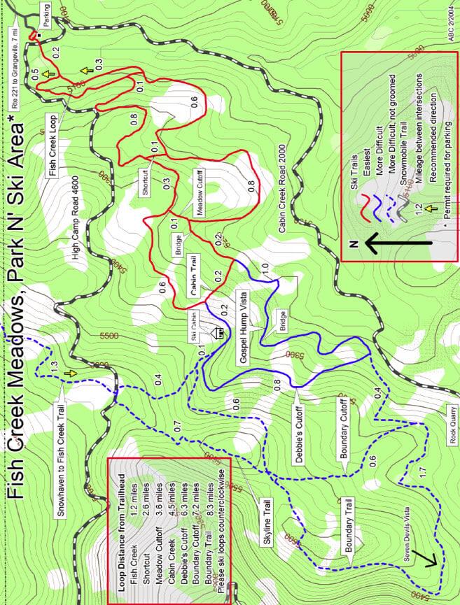 Fish Creek Meadows Cross Country Skiing Map