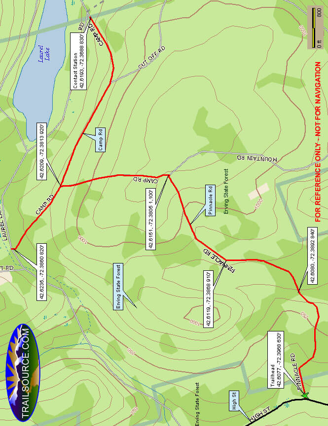 Erving State Forest Cross Country Skiing Map