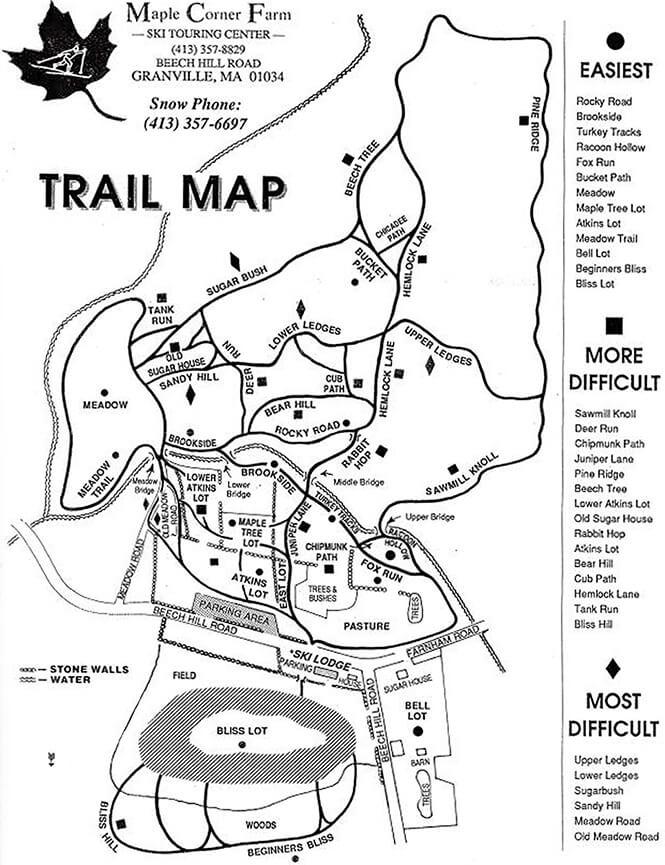 Maple Corner Farm Cross Country Skiing Map