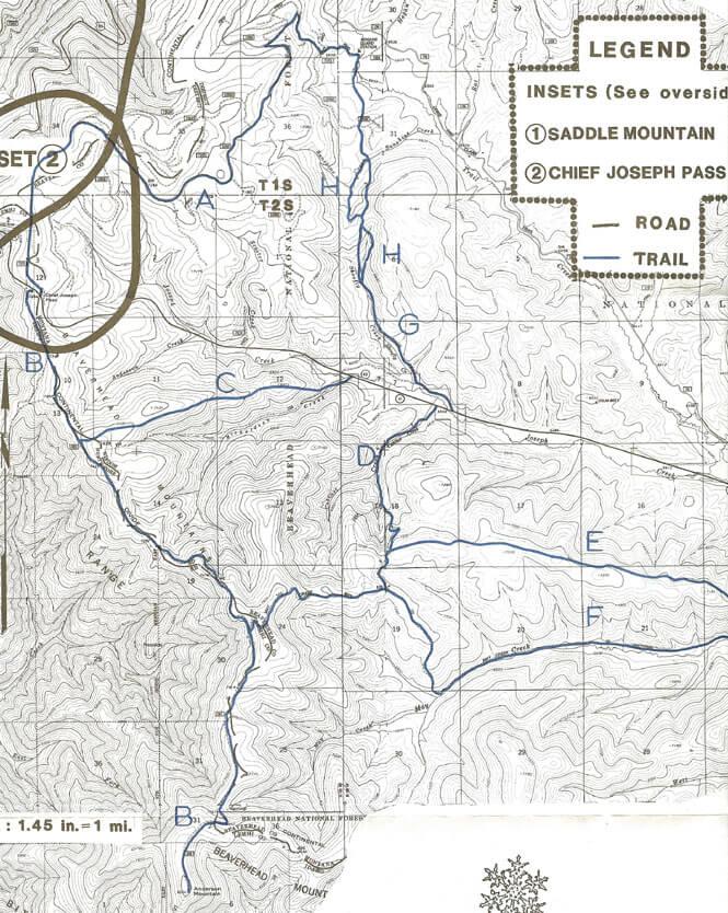 Chief Joseph Pass Cross Country Skiing Map