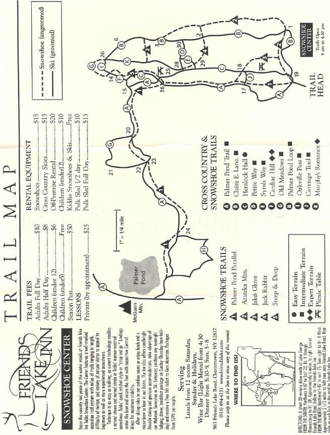 Friends Lake Inn Cross Country Skiing Map