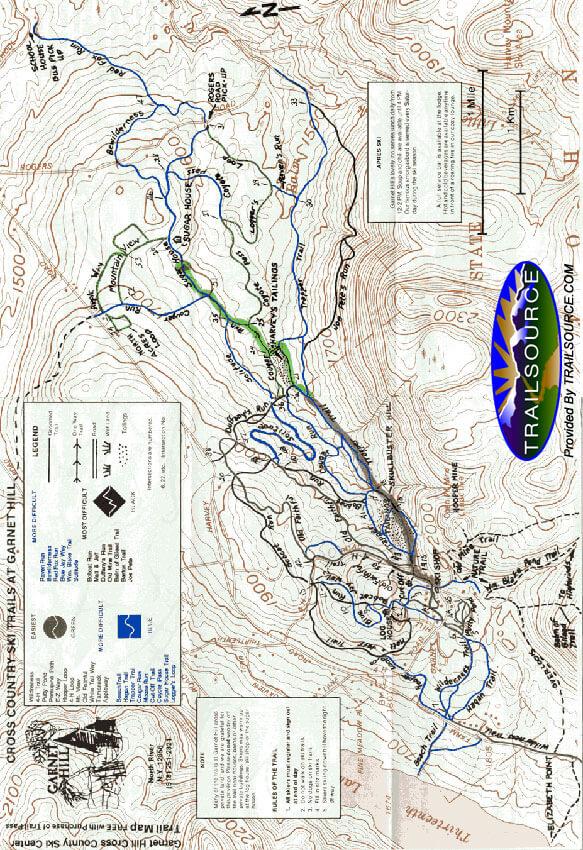 Garnet Hill Lodge Ski Center Cross Country Skiing Map
