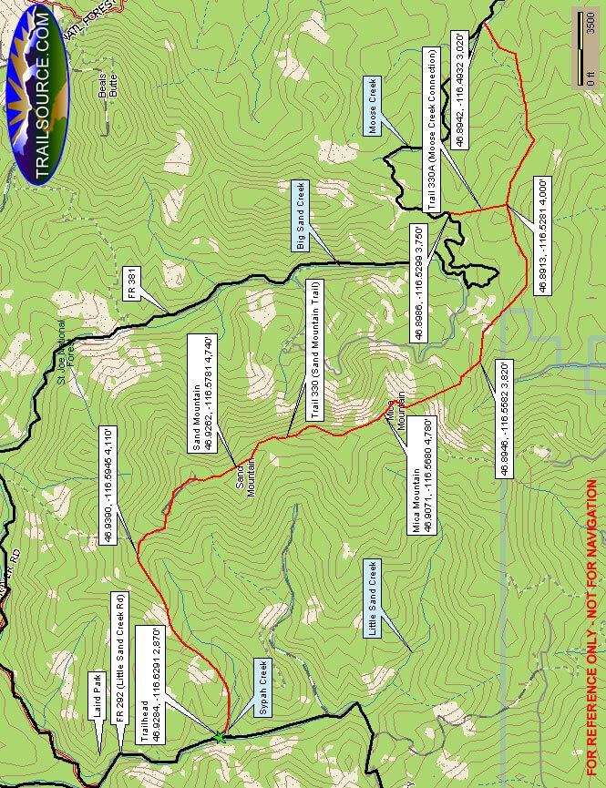 Sand Mountain Trail Mountain Biking Map